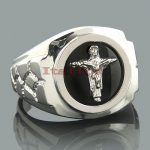 Mens Black Onyx Rings 14K White Gold Mens Cross Ring