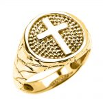 Men's Christian Textured Band Cross Ring in 9ct Gold