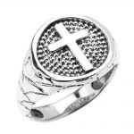 Men's Christian Textured Band Cross Ring in Sterling Silver