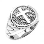 Men's Christian Textured Band Cross Ring in 9ct White Gold