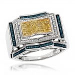 Mens Color Diamond Ring 0.5 ct Sterling Silver