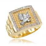 Men's CZ Watchband Design Eagle Ring in 9ct Gold