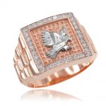 Men's CZ Watchband Design Eagle Ring in 9ct Rose Gold
