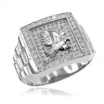 Men's CZ Watchband Design Eagle Ring in 9ct White Gold