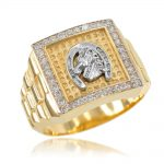Men's CZ Watchband Design Horseshoe Ring in 9ct Gold