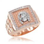 Men's CZ Watchband Design Horseshoe Ring in 9ct Rose Gold