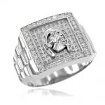 Men's CZ Watchband Design Horseshoe Ring in Sterling Silver