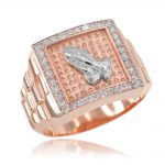 Men's CZ Watchband Design Prayer Ring in 9ct Rose Gold