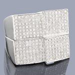 Mens Diamond Jewelry: 10K Gold Pave Diamond Ring 0.96ct
