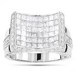 Mens Diamond Ring 14K 4.92ct Princess Round