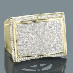 Mens Diamond Rings 10K Gold Round Diamond Ring 1.22ct