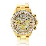 Men's Diamond Watches: 18K Yellow Gold Rolex Cosmograph Daytona Watch 7ct