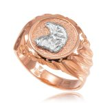 Men's Eagle Head Ring in 9ct Rose Gold