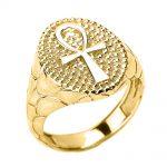 Men's Egyptian Cross Ring in 9ct Gold