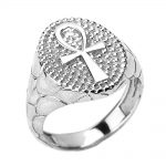 Men's Egyptian Cross Ring in 9ct White Gold