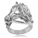 Men's Equestrian Horse Head Ring in Sterling Silver