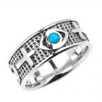 Men's 0.05ct Good Luck Evil Eye Ring in Sterling Silver