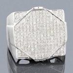 Mens Hip Hop Diamond Ring 0.87ct 10K Gold