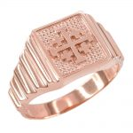 Men's Jerusalem Cross Ring in 9ct Rose Gold