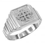 Men's Jerusalem Cross Ring in 9ct White Gold