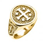 Men's Jerusalem Crusaders Five Wounds of Christ Ring in 9ct Gold