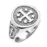 Men's Jerusalem Crusaders Five Wounds of Christ Ring in 9ct White Gold