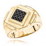 Mens Pinky RIngs: 14K Gold Black Diamond Ring for Men by Luxurman