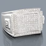 Mens Silver Diamond Ring 1.03ct