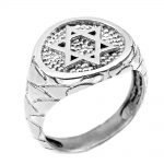Men's Star of David Ring in 9ct White Gold