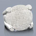 Mens Sterling Silver Diamond Ring 1.73ct