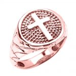 Men's Textured Band Christian Cross Ring in 9ct Rose Gold