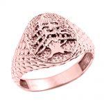 Men's Textured Band Lebanese Cedar Tree Ring in 9ct Rose Gold