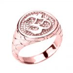 Men's Textured Band Om (Ohm) Ring in 9ct Rose Gold