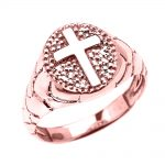 Men's Textured Band Oval Christian Cross Ring in 9ct Rose Gold