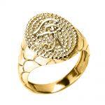 Men's Textured Eye of Horus Ring in 9ct Gold