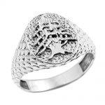 Men's Textured Lebanese Cedar Tree Ring in 9ct White Gold