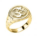Men's Textured Om (Ohm) Ring in 9ct Gold