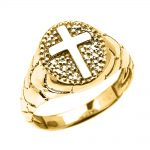 Men's Textured Oval Christian Cross Ring in 9ct Gold