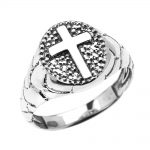 Men's Textured Oval Christian Cross Ring in Sterling Silver