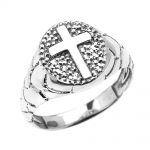 Men's Textured Oval Christian Cross Ring in 9ct White Gold