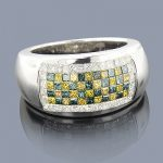 Mens White Blue Yellow Diamond Ring 2ct 14K