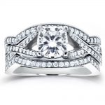 Art Deco Moissanite and Diamond Twist Bridal Set 1 3/5 CTW 14k White Gold (3-Piece Set)
