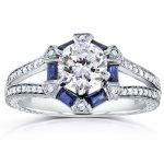 Forever One (D-F) Art Deco Moissanite Engagement Ring with Blue Sapphire & Diamond 1 3/5 CTW 14k White Gold