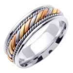 Multi-Tone Hand Braided Wedding Ring in 9ct White Gold