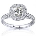 Forever One (D-F) Moissanite Engagement Ring with Diamond 1 1/2 Carat (ctw) 14k Gold
