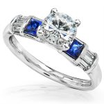 IGI Certified Diamond & Sapphire Engagement Ring 14K White Gold – Size 10