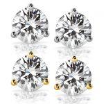 Forever One GHI 2 CTW Round Moissanite Stud Earrings in 14K White Gold (6.5mm)
