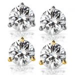 Forever One GHI 3 CTW Round Moissanite Stud Earrings in 14K Yellow Gold (7.5mm)