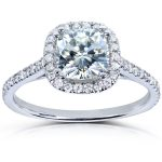 Forever One (D-F) Moissanite Engagement Ring with Diamond 1 1/3 CTW 14k White Gold