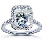 Forever One (D-F) Radiant-cut Moissanite & Diamond Engagement Ring 3 Carat (ctw) in 14k White Gold